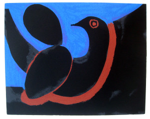 Black-and-Blue-Bird-lithograph-edition-of-50-signed-image-size-28.5-x-35.5cm-sheet-size-58.5-x-44-cm