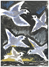 Josef-Herman-MM27-Five-Birdssigned-inscribed-verso