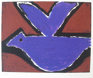 Purple-Bird-lithograph-edition-of-50-signed-image-size-28-x-35.5-cm-sheet-size-58.5-x-44-cm