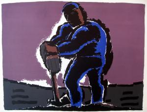 Roadworker, lithograph AP, signed, image size 52.5 x 68cm, sheet size 57 x 80 cm